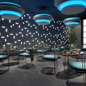 現代星空科技餐廳3D模型【ID:646715295】