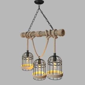工业风麻绳吊灯3D模型【ID:743455857】