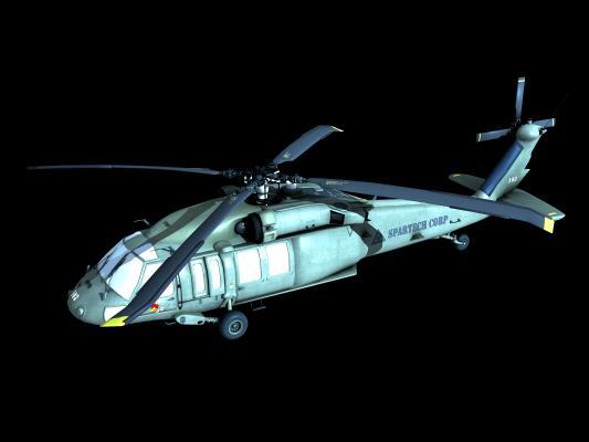 工業風軍用直升機3D模型【ID:432495985】