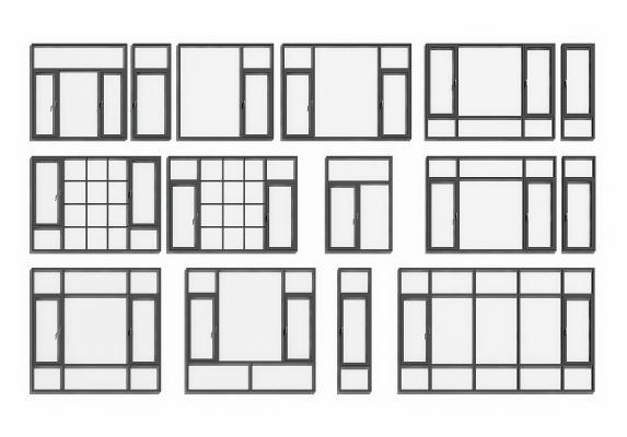 现代铝合金门窗组合3D模型【ID:342062282】