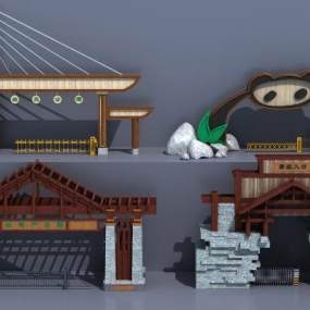 现代景区大门入口3D模型【ID:143300408】