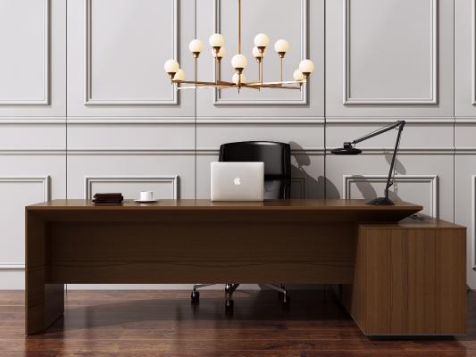 现代老板桌椅 书桌 办公桌 电脑桌椅 金属吊灯