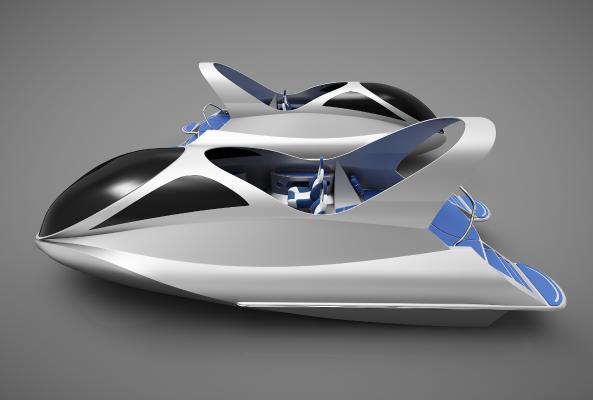 現代風格小船3D模型【ID:443145884】