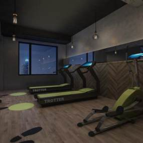 工業風酒店健身房3D模型【ID:642169513】