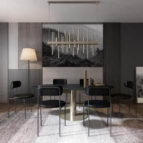 现代餐厅餐桌餐椅组合3D模型【ID:530434176】