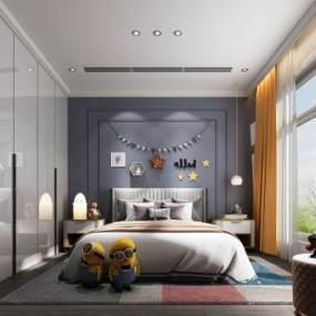 現代臥室3D模型【ID:548192277】