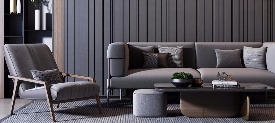 现代沙发茶几组合3D模型【ID:653818730】