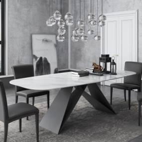 现代洽谈桌椅组合3D模型【ID:949206141】