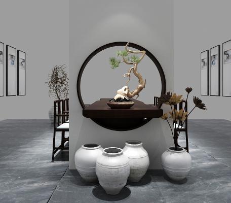 新中式茶桌3D模型【ID:830951929】
