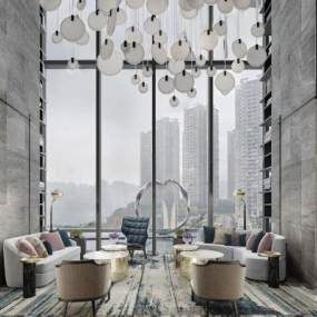 现代风格酒店休息区3D模型【ID:743632288】