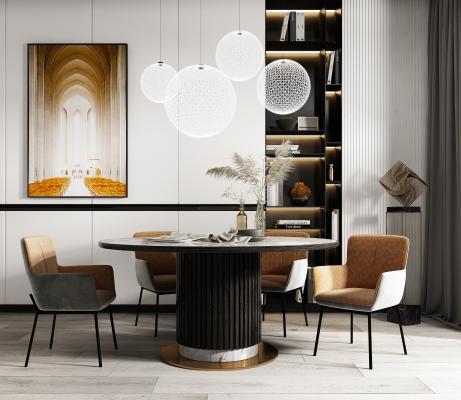現代餐桌椅組合3D模型【ID:852012880】