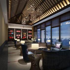 新中式茶室建筑室內3D模型【ID:647404610】