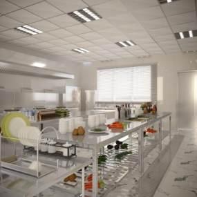 现代厨房3D模型【ID:646938618】