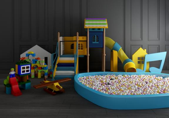 现代儿童滑滑梯3D模型【ID:442529169】