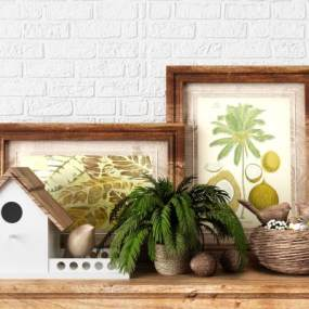 田園地中海鳥巢鳥窩植物盆栽松果裝飾擺件3D模型【ID:243875523】