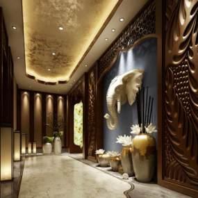 新中式酒店过道3D模型【ID:734542484】