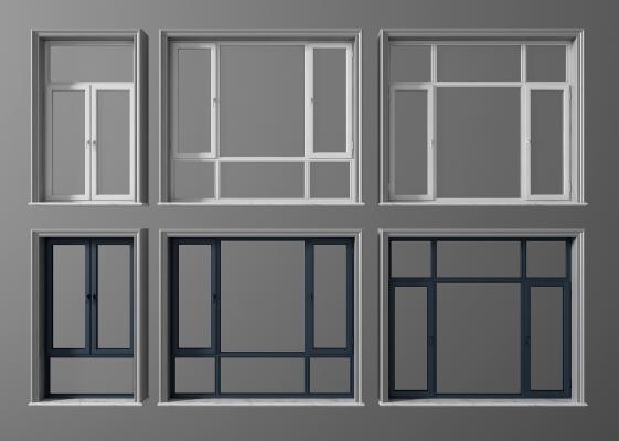 現代平開窗組合3D模型【ID:335070277】