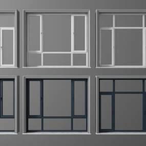 现代平开窗组合3D模型【ID:335070277】