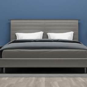 现代双人床3D模型【ID:832019727】