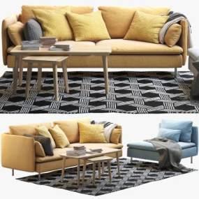 IKEA宜家雙人沙發單人沙發茶幾角幾組合】