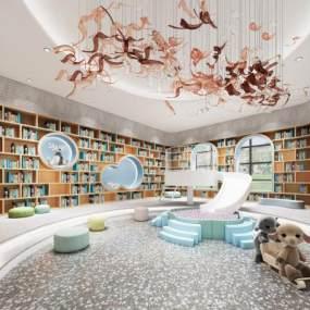 北欧风格图书馆3D模型【ID:950149635】