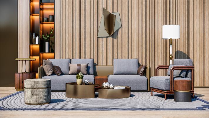 现代轻奢沙发茶几组合SU模型【ID:454006192】