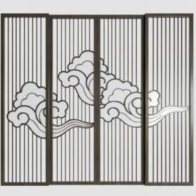 新中式实木屏风隔断组合3D模型【ID:353788760】
