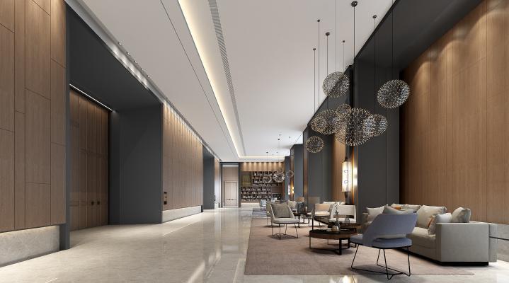 新中式酒店大堂 宴会前厅 贵宾接待厅