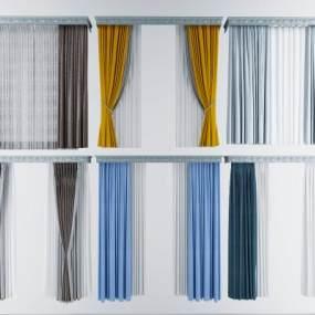 现代窗帘3D模型【ID:233118675】