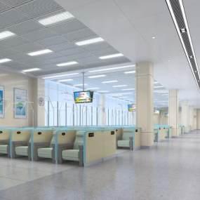 现代医院输液大厅3D模型【ID:934811769】