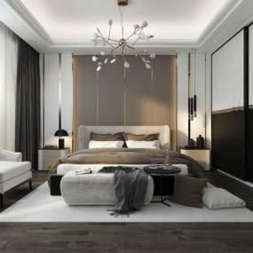 現代輕奢臥室3D模型【ID:542832278】