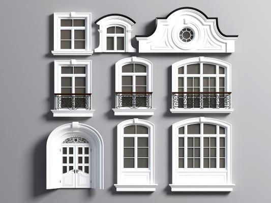 簡歐窗戶圍欄線條裝飾3D模型【ID:333309219】