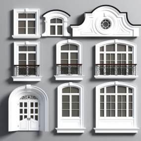 简欧窗户围栏线条装饰3D模型【ID:333309219】