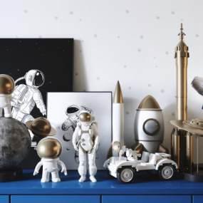 現代宇航員火箭太空主題兒童玩具3D模型【ID:252579512】