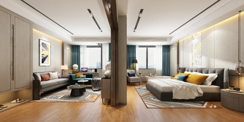 现代酒店客房3D模型【ID:741485343】