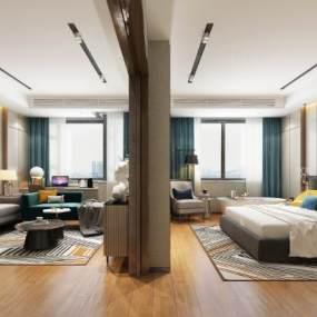 现代酒店客房 3D模型【ID:741485343】