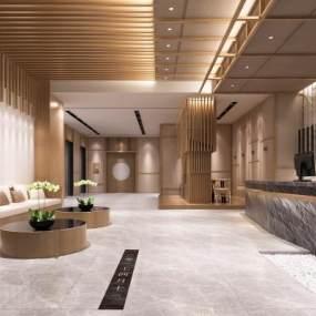 新中式公司接待大厅3D模型【ID:943382265】