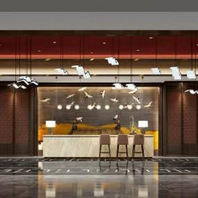 新中式风格酒店前台3D模型【ID:753091066】