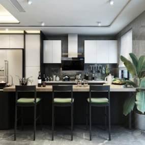 现代风格厨房餐厅3D模型【ID:533755105】