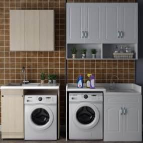 现代洗衣机水槽3D模型【ID:233581679】