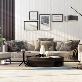 现代沙发茶几组合3D模型【ID:644398721】