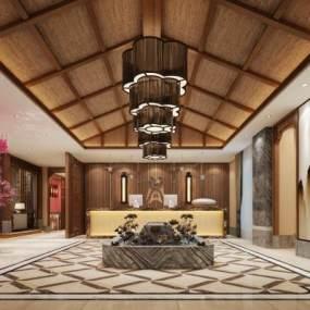 新中式酒店大堂3D模型【ID:732146057】