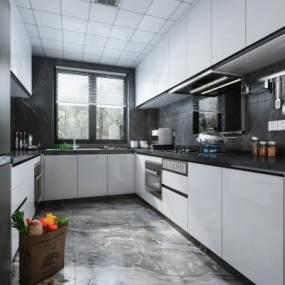 现代风格厨房橱柜3D模型【ID:553996357】