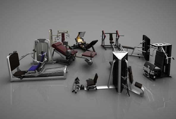 现代健身器材3D模型【ID:341837810】