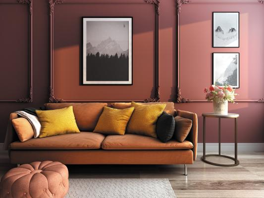 欧式简约客厅双人沙发3D模型【ID:652598457】