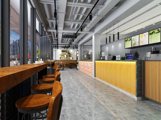 工业风咖啡店3D模型【ID:841938066】
