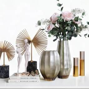 美式簡約磨砂玻璃花瓶擺件組合3D模型【ID:248410558】