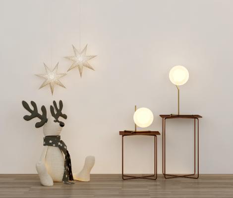 北欧床头柜台灯吊灯玩偶组合3D模型【ID:143779814】