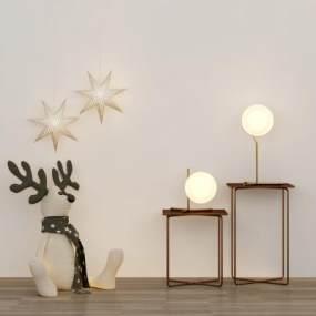 北歐床頭柜臺燈吊燈玩偶組合3D模型【ID:143779814】