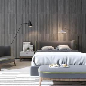 现代卧室双人床3D模型【ID:530431237】